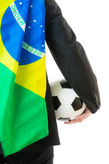 Back view of businessman with soccerball