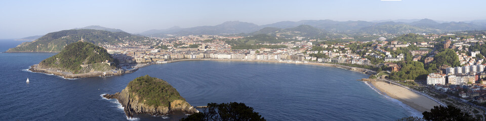 Overview of the city and the Bay of San Sebastian, Spain