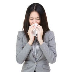 Businesswoman with flu