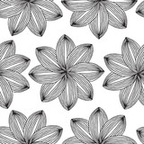 Geometric Flower seamless pattern in black and white