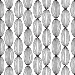 Hair seamless pattern in black and white