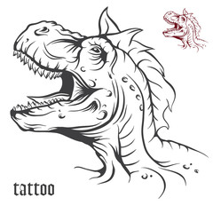 Sketch of tattoo dinosaur.
