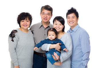 Happy three generation asian family