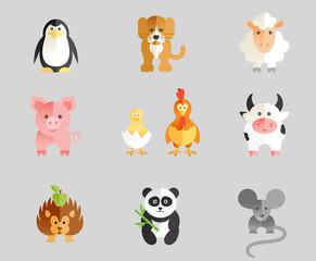 Set of flat animal
