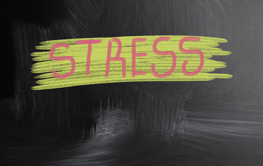 stress handwritten with chalk on a blackboard