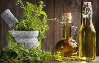 herbs and oil
