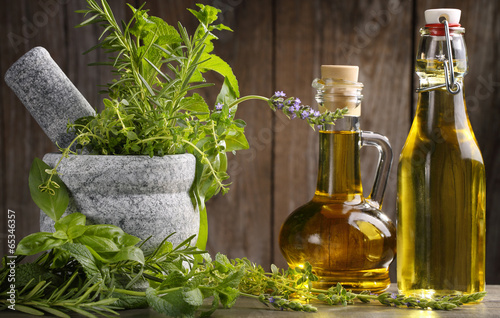 Foto op Canvas Kruiden herbs and oil