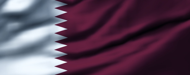 Waving flag, design 1 - Qatar