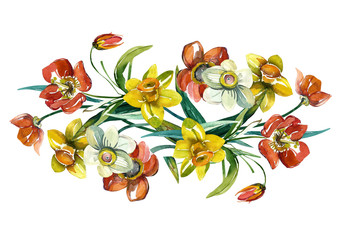 Spring flowers garland