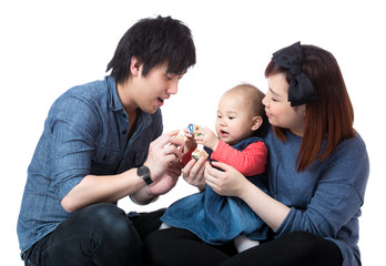 Parent play with baby daughter