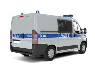 Полицейский автомобиль на белом фоне