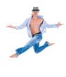 hip hop dancer jumping over white background