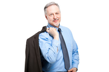 Senior businessman holding his jacket