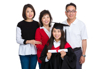 Female college graduate with parent