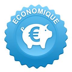 économique sur bouton web denté bleu