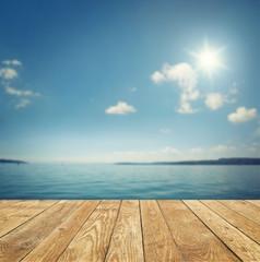 Landschaft mit Holt und See / Meer im Hintergrund