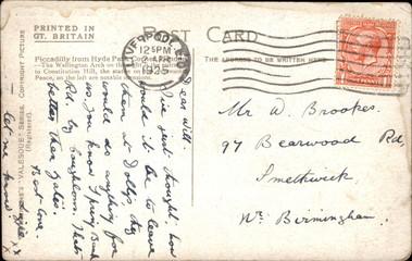 Backside of postcard