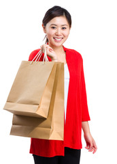 Happy smiling woman with shopping bag