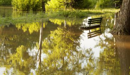 Flooded park in Bosnia