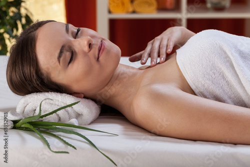 Woman after beauty therapy with aloe