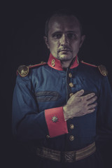 Peace, old soldier style jacket with blue and gold epaulettes, S
