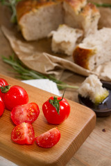 Red tomatoes and focaccia bread