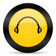 headphones black yellow web icon