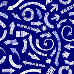 Blue Seamless scribble arrows background