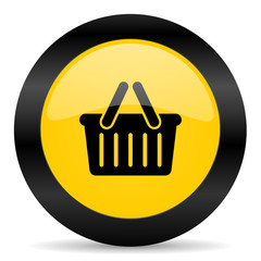 cart black yellow web icon