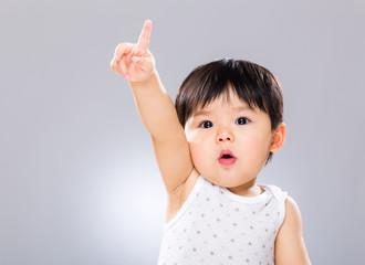 Adorable boy hand raised up