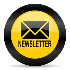 newsletter black yellow web icon
