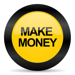 make money black yellow web icon