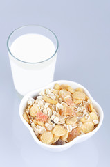 Cereals with dried and candied tropical fruit and glass of milk