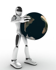 Robot with a globe
