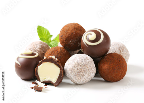 Foto Spatwand Snoepjes Chocolate truffles and pralines