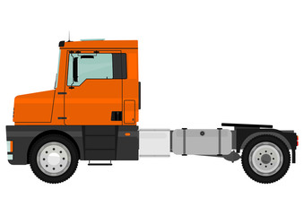 Cartoon tractor unit isolated on a white background. Vector