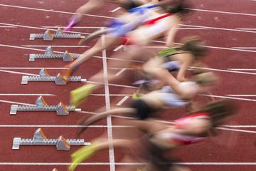 Sprintstart mit Bewegungsunschärfe