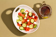 Simple fresh salad with feta cheese and hot tea