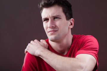 Man with a painful shoulder