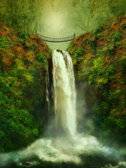 fantastic waterfall and bridge
