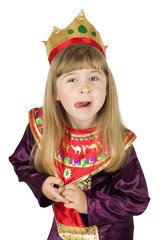 pretty little girl in queen costume on the white background