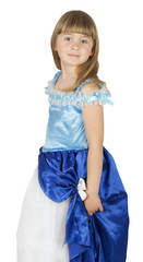 pretty little girl in princes costume on the white background