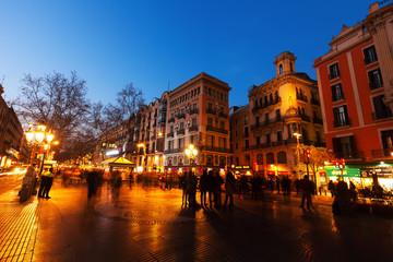 La Rambla in evening. Barcelona, Spain