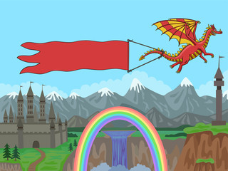 Dragon flying over the mountains and pulls a banner.