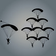 Set of parachutes, chutes, paraplanes, paragliders silhouettes