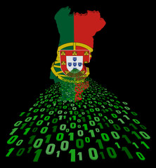 Portugal map flag with binary foreground illustration