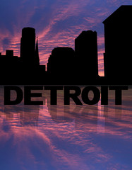 Detroit skyline reflected with text and sunset illustration