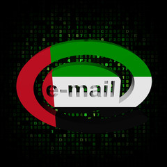 e-mail address symbol with UAE flag on hex illustration