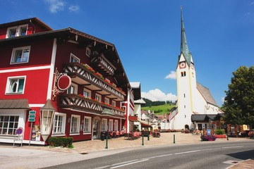 View of the square Abtenau in Austrian Alps