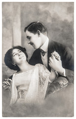 young romantic couple in love. antique sepia picture